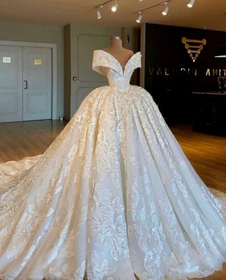 Buy Modern A Line Wedding Dresses Cream Lace Wedding Gowns Online_2