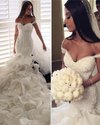 Elegante Brautkleider Mit Spitze Meerjungfrau Organza Hochzeitskleider Brautmoden_5