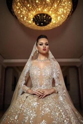 Luxus Hochzeitskleider Gold | Brautmoden A linie mit Spitze_3