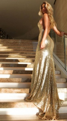 Simple Gold Evening Dresses Long Cheap Mermaid Backless Prom Dresses Cheap Online_2