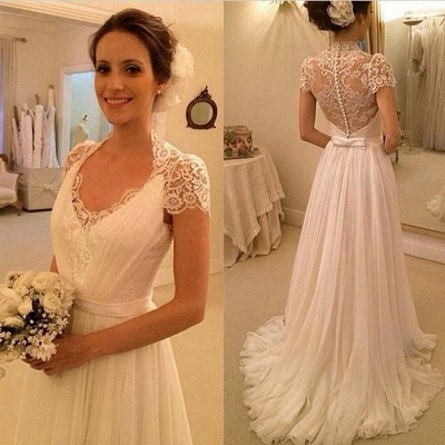 Simple wedding dresses lace cheap chiffon dresses wedding dresses online_2
