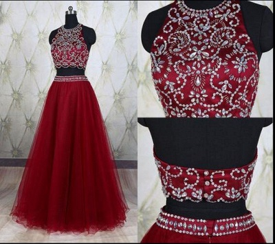 Wine Red 2 Piece Evening Dresses Prom Dresses Straps A Line Tulle Prom Dresses Evening Wear_2