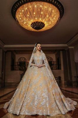 Luxus Hochzeitskleider Gold | Brautmoden A linie mit Spitze_1