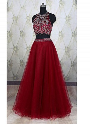 Wine Red 2 Piece Evening Dresses Prom Dresses Straps A Line Tulle Prom Dresses Evening Wear_1
