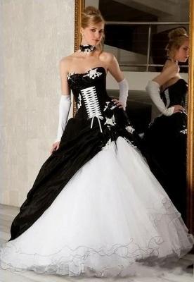 Elegante Schwarz Weiße Brautkleider A Linie Hochzeitskleider Online_1