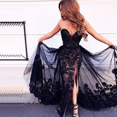 Elegant Evening Dresses Long Black | Evening wear with lace online_3