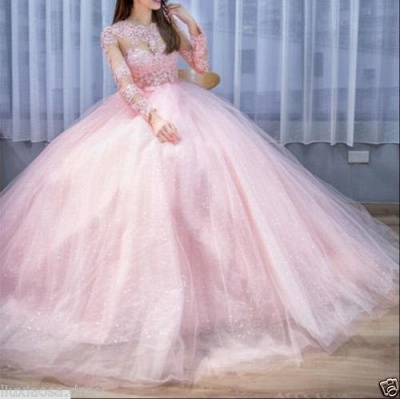 Elegant pink wedding dress with lace sleeves princess wedding dresses cheap online_2