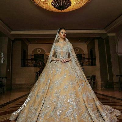 Luxus Hochzeitskleider Gold | Brautmoden A linie mit Spitze_4