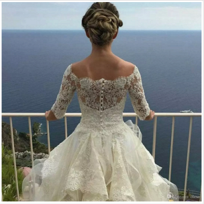 White Wedding Dresses Long Sleeves Lace A Line Organza Bridal Wedding Dresses With Train_3