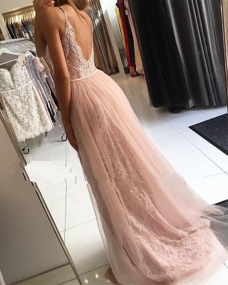 Designer Abendkleider Lang Rosa | Spitze Abendmoden Bodenlang Günstig_2