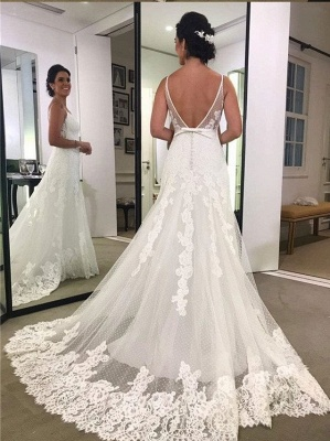 Simple Wedding Dresses White Lace Wedding Dresses Sheath Dress Online_2