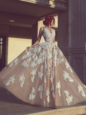 Designer Evening Dresses Long With Lace Champagne Evening Wear Party Dresses Cheap_1