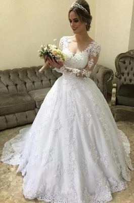 Designer wedding dresses with sleeves   Princess wedding dresses with lace_2