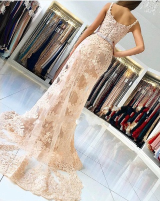 Champagne Lace Evening Dresses Long | Buy cheap prom dresses online_2