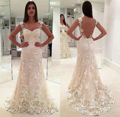 Sexy White Wedding Dresses Lace A Line Straps Wedding Gowns Online_2