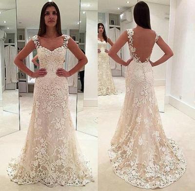 Sexy Weiß Brautkleider Spitze A Linie Träger Hochzeitskleider Online_2