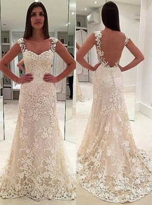 Sexy White Wedding Dresses Lace A Line Straps Wedding Gowns Online_1