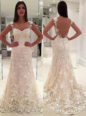 Sexy Weiß Brautkleider Spitze A Linie Träger Hochzeitskleider Online_1