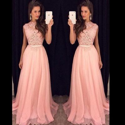 Rosa Abendkleider Lang Günstig Chiffon Bodenlang Abendmoden Abiballkleider_2