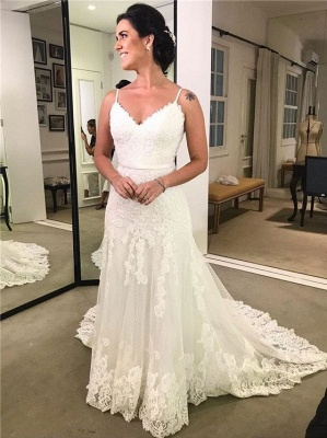 Simple Wedding Dresses White Lace Wedding Dresses Sheath Dress Online_1