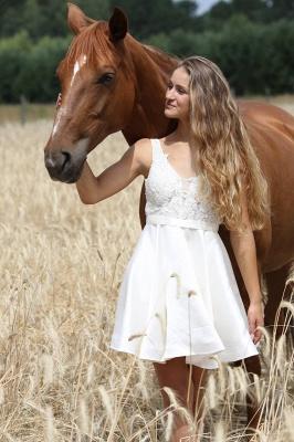 Günstige Brautkleid Mit Spitze | Hochzeitskleid Kurz A Linie_1