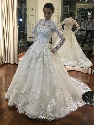 Vintage Brautkleider Mit Ärmel Weiße A Linie Hochzeitskleider Günstig_1