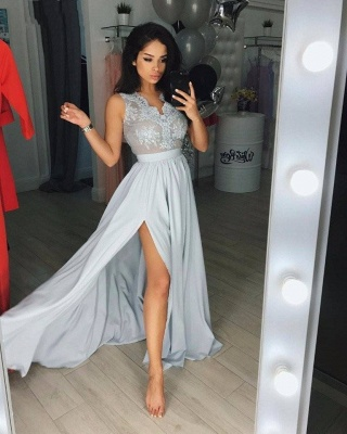 Silver evening dresses long cheap with lace evening wear online_1