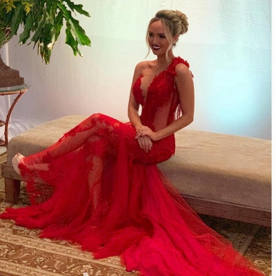Sexy evening dress long red | Lace Evening Dresses Cheap Online_2