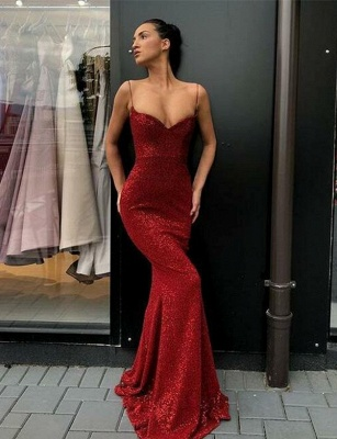 Elegant red evening dresses long | Prom dresses with glitter cheap_2