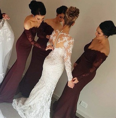 Wine Red Bridesmaid Dresses Long Sleeves With Lace Mermaid Chiffon Party Dresses for Bridesmaids_2