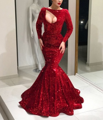 Luxury evening dresses red with long sleeves sequin prom dresses online_3