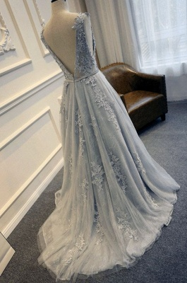 Silver prom dresses lace long cheap evening dresses prom dresses_2