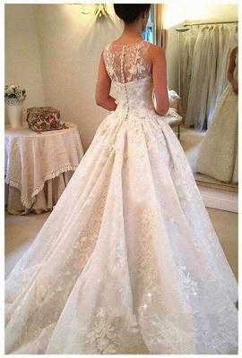 Elegante Weiße Hochzeitskleider Spitze A Linie Brautkleider Günstig Online_2