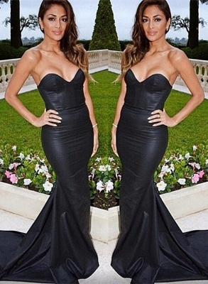 Black evening dresses prom dresses heart mermaid evening wear prom dresses_1
