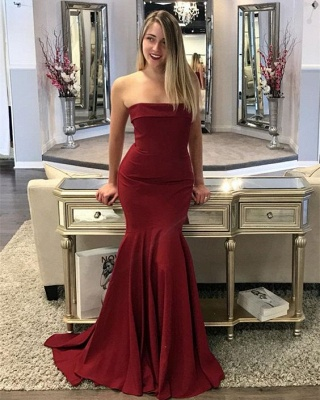 Wine red evening dresses cheap long mermaid satin prom dresses online_1