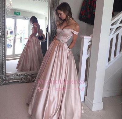 Rosa Abendkleider Lang Satin Schulterfrei Bodenlang Partykleider Abiballkleider_1