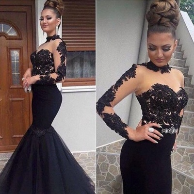 Elegant Evening Dresses Long Black With Sleeves Lace Mermaid Prom Dresses Evening Wear Online_3