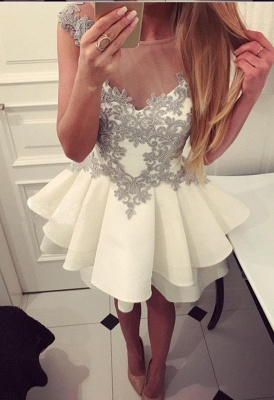 Simple white cocktail dresses short with lace a line prom dresses cheap_2