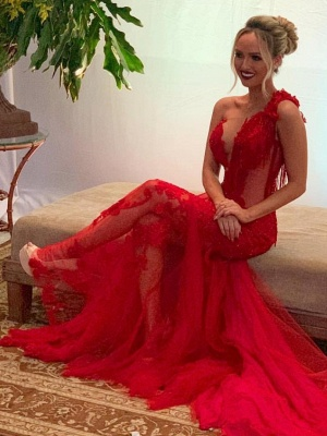 Sexy evening dress long red | Lace Evening Dresses Cheap Online_1