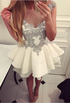 Simple white cocktail dresses short with lace a line prom dresses cheap_1