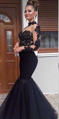 Elegant Evening Dresses Long Black With Sleeves Lace Mermaid Prom Dresses Evening Wear Online_2