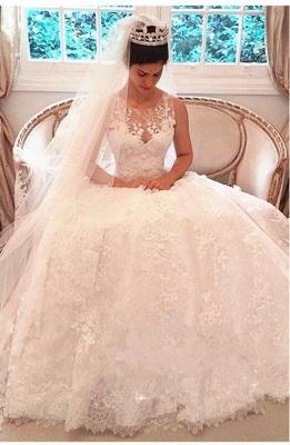 Elegante Weiße Hochzeitskleider Spitze A Linie Brautkleider Günstig Online_1