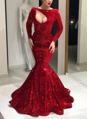 Luxury evening dresses red with long sleeves sequin prom dresses online_1