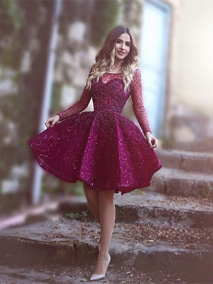 Wine Red Cocktail Dresses Long Sleeves A Line Lace Evening Wear Party Dresses_1