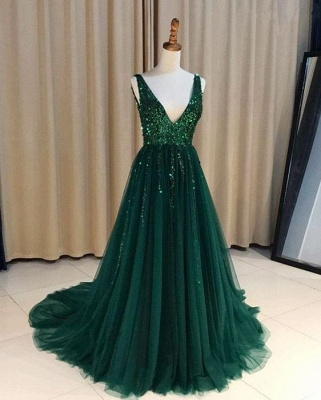 Chic Green Evening Dress Long Cheap V Neck Tulle Prom Dresses Evening Wear Online_1