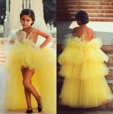 Gelb Blumenmädchenkleider Vorne Kurz Hinter Lang Kinderkleider für Hochzeit_2