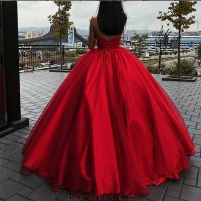 Fashion Rote Abendkleider Lang Günstig Prinzessin Organza Abendkleid Abiballkleider_2