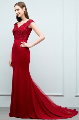 Cheap evening dresses red with lace mermaid evening wear for sale online_6