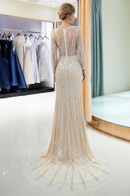 Luxury silver evening dresses with sleeves crystal prom dresses evening wear_7