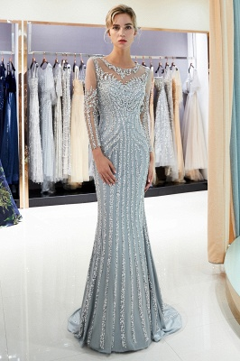 Luxury silver evening dresses with sleeves crystal prom dresses evening wear_4